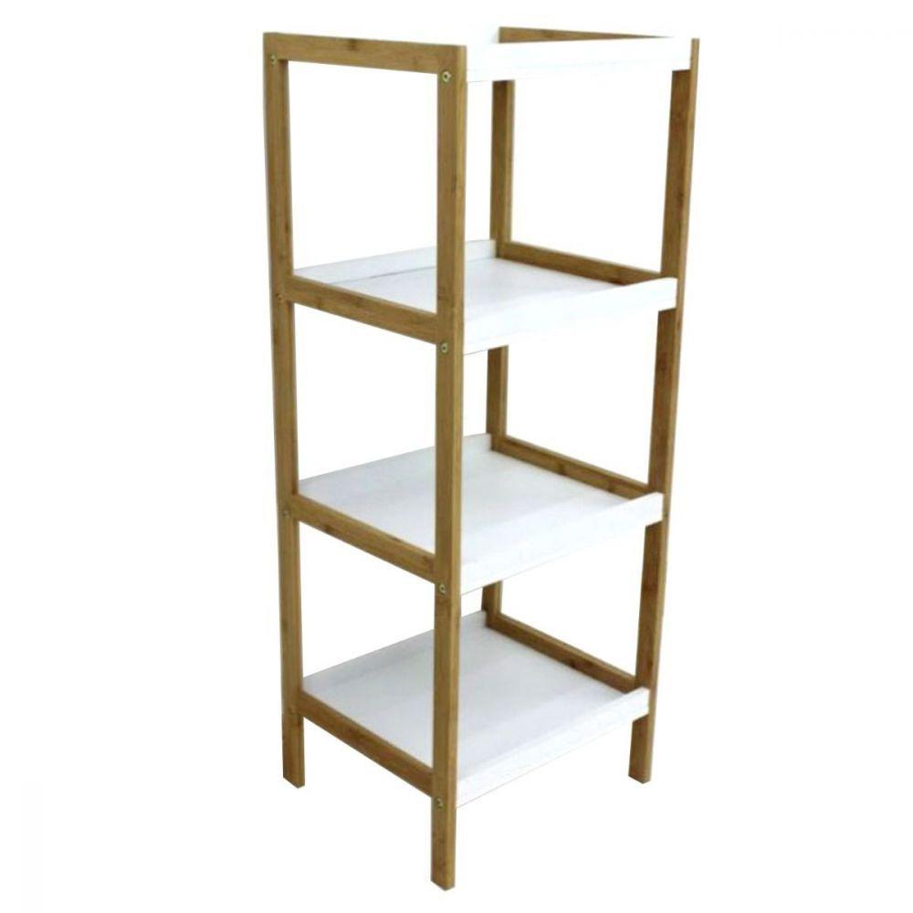 Bamboo White Box Shelving Unit 4 Tier | Furniture | Home Storage & Living