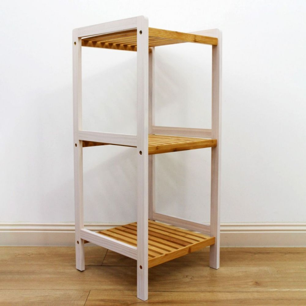 Bamboo White Slatted Shelving Unit 3 Tier   Furniture   Home Storage & Living