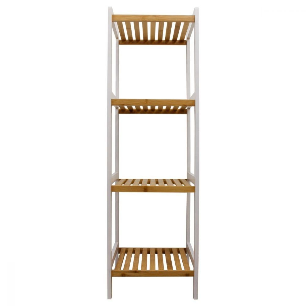 Bamboo White Slatted Shelving Unit 4 Tier | Furniture | Home Storage & Living