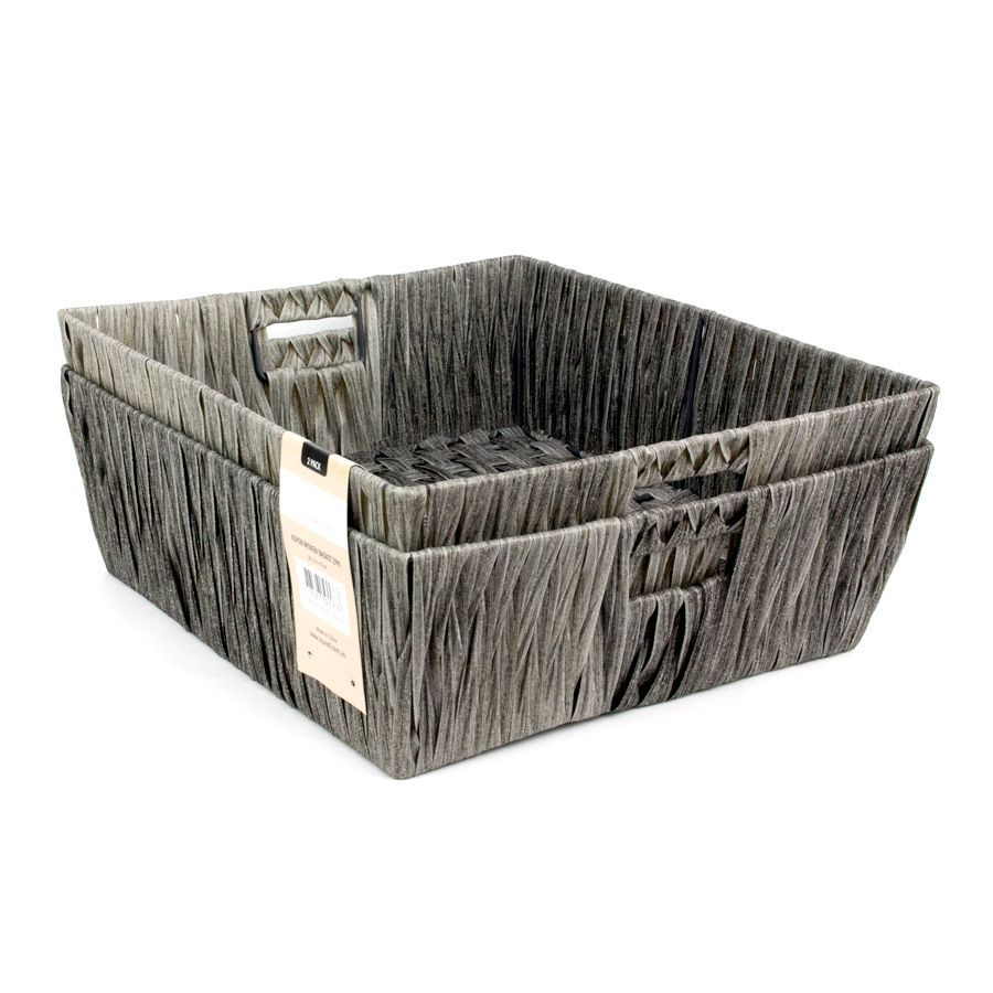Aspen Storage Basket Grey - Set of 2 | Storage | Home Storage & Living