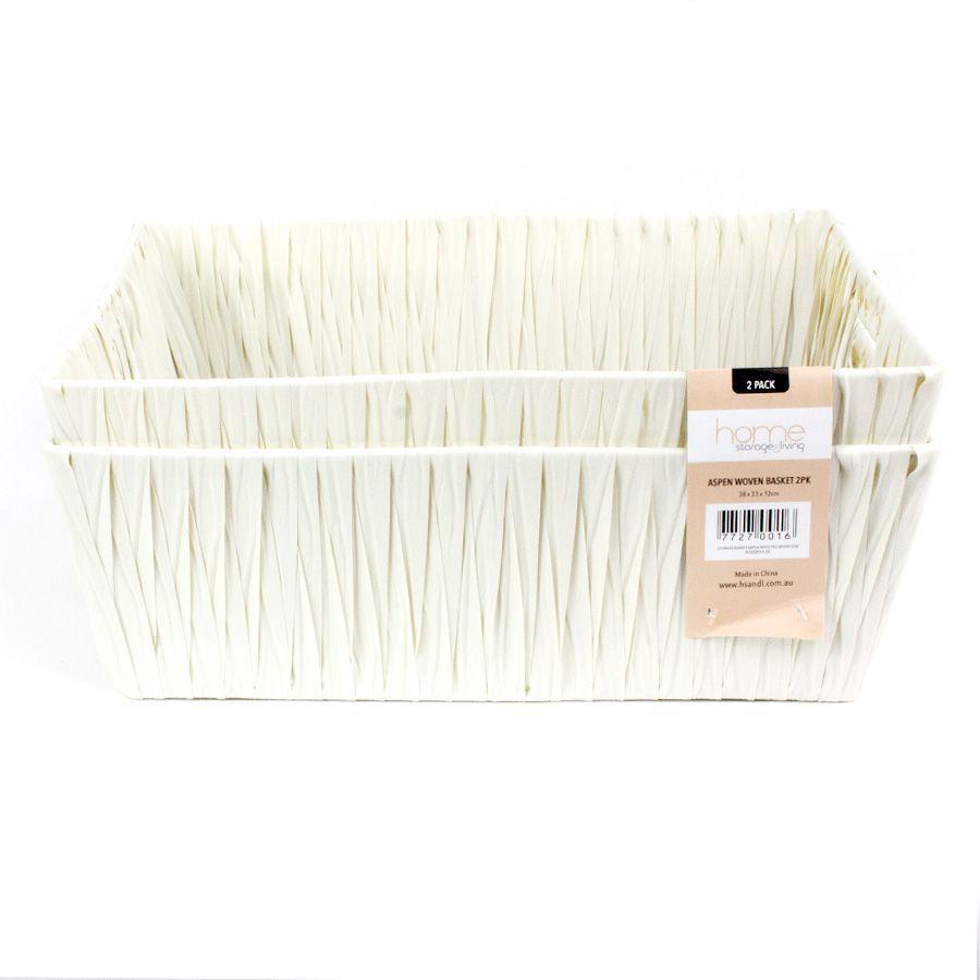 Aspen Storage Basket White - Set of 2 | Storage | Home Storage & Living