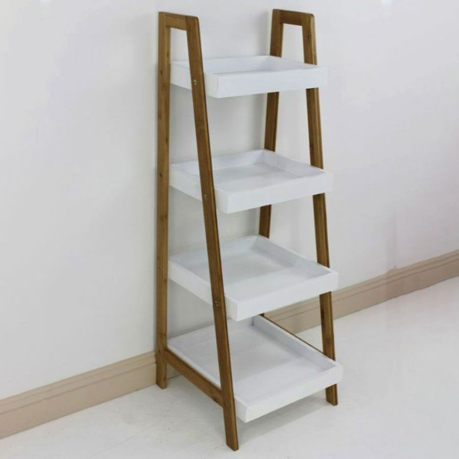 Bamboo Ladder Box Shelving Unit 4 Tier | Furniture | Home Storage & Living