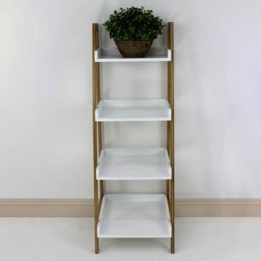 Bamboo Ladder Tray Shelving Unit 4 Tier | Furniture | Home Storage & Living