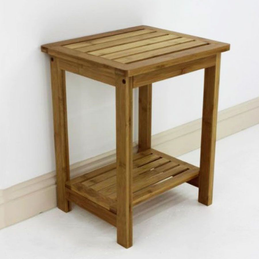 Bamboo Stool with Shelf | Furniture | Home Storage & Living