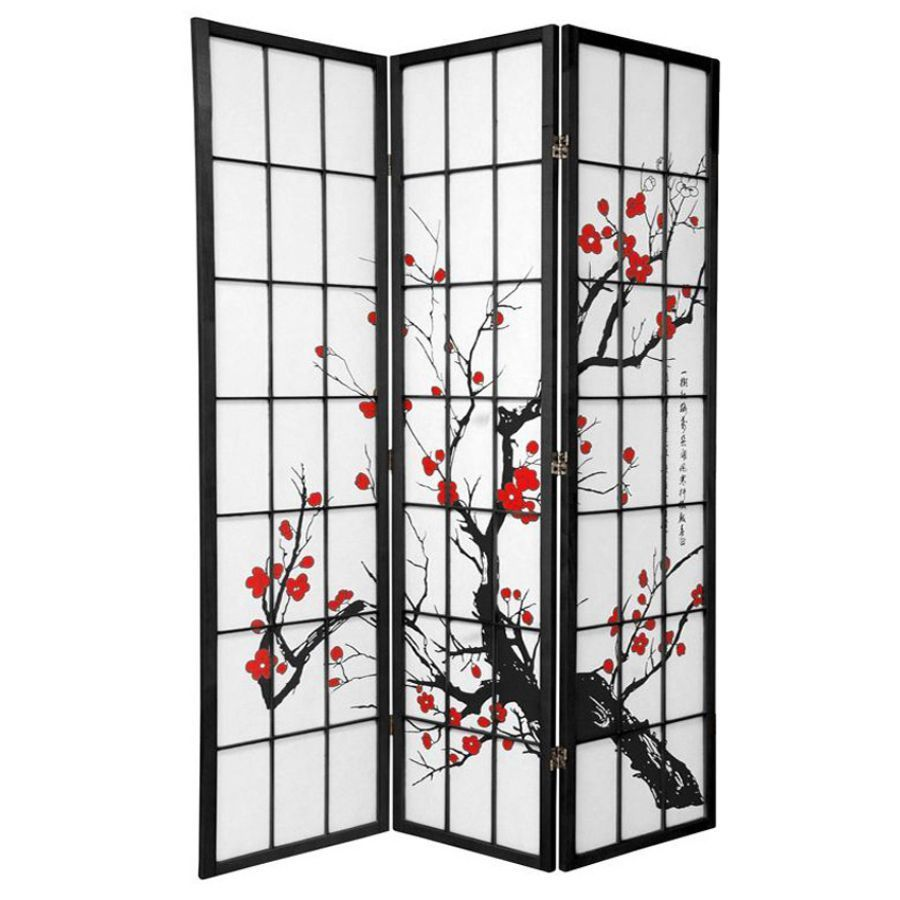 Cherry Blossom Room Divider Screen Black 3 Panel | Room Dividers & Screens | Home Storage & Living