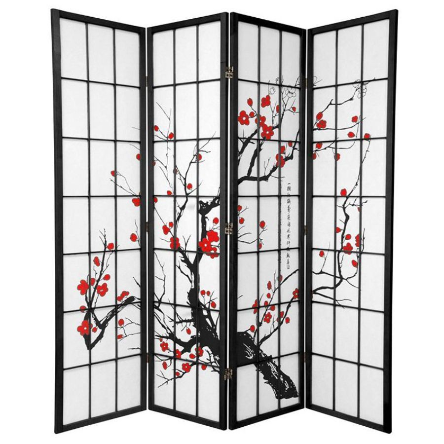 Cherry Blossom Room Divider Screen Black 4 Panel | Room Dividers & Screens | Home Storage & Living