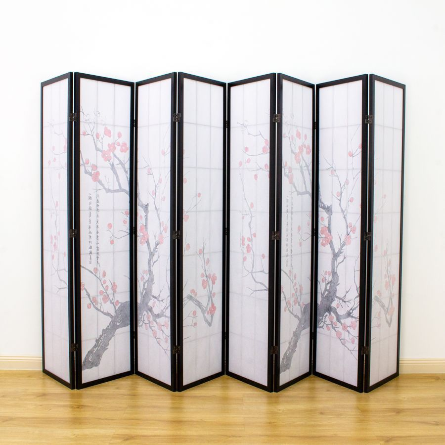 Cherry Blossom Room Divider Screen Black 8 Panel | Room Dividers & Screens | Home Storage & Living