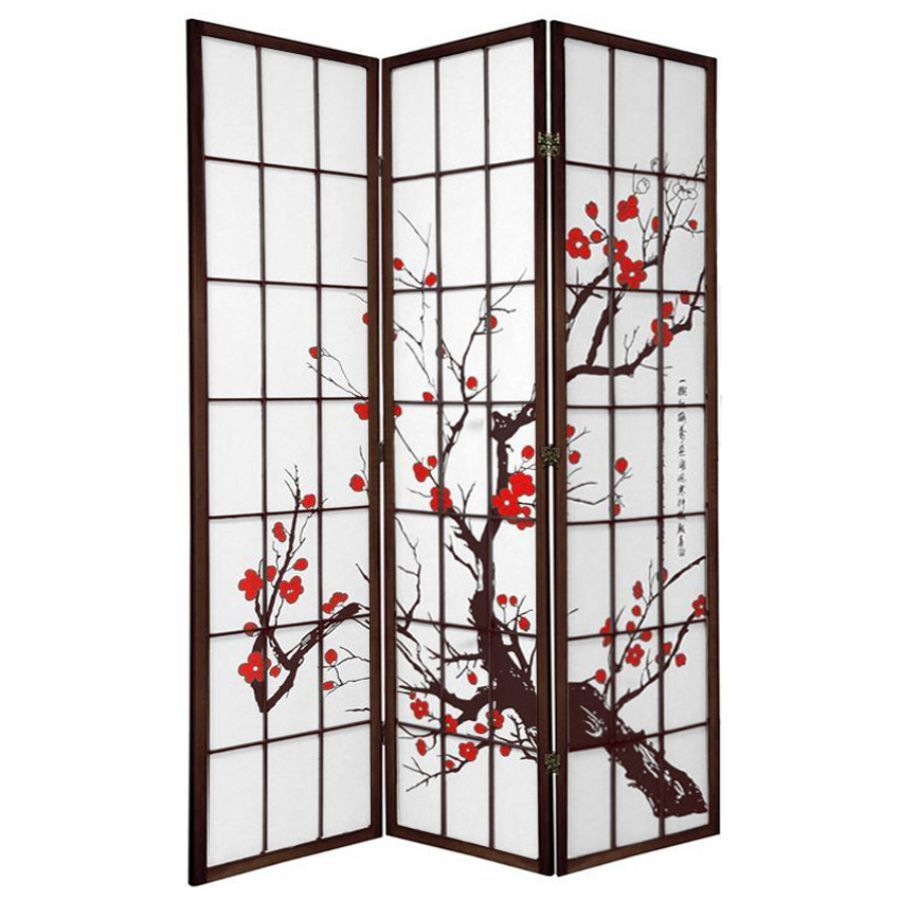 Cherry Blossom Room Divider Screen Brown 3 Panel | Room Dividers & Screens | Home Storage & Living