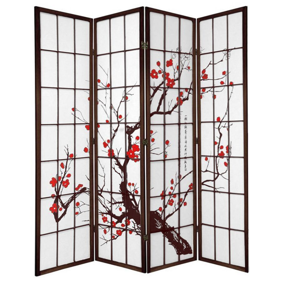 Cherry Blossom Room Divider Screen Brown 4 Panel | Room Dividers & Screens | Home Storage & Living