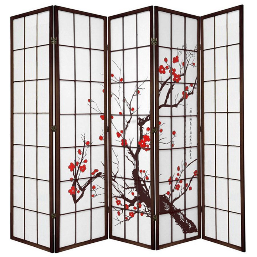 Cherry Blossom Room Divider Screen Brown 5 Panel | Room Dividers & Screens | Home Storage & Living