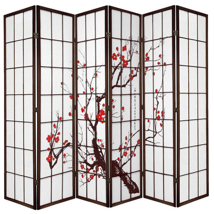 Cherry Blossom Room Divider Screen Brown 6 Panel | Room Dividers & Screens | Home Storage & Living