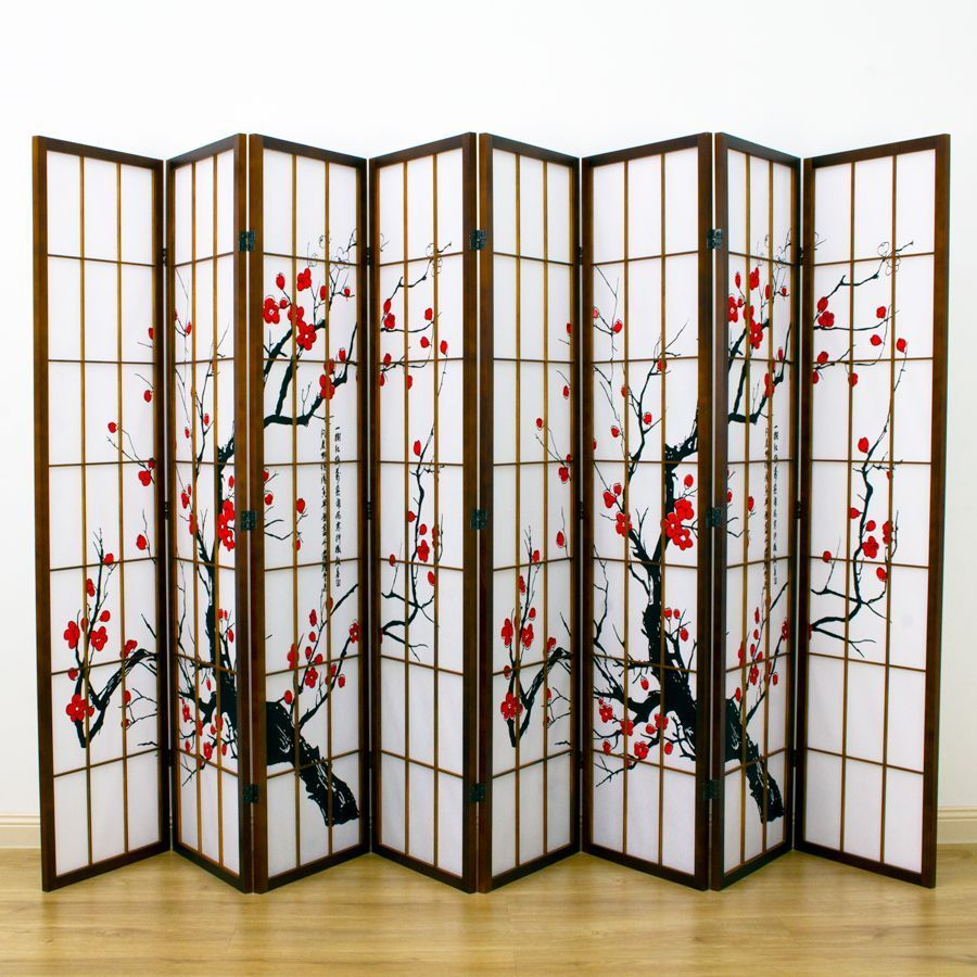 Cherry Blossom Room Divider Screen Brown 8 Panel | Room Dividers & Screens | Home Storage & Living