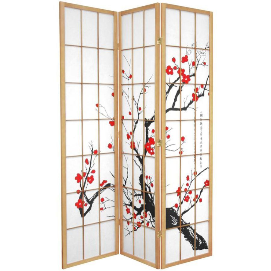 Cherry Blossom Room Divider Screen Natural 3 Panel | Room Dividers & Screens | Home Storage & Living