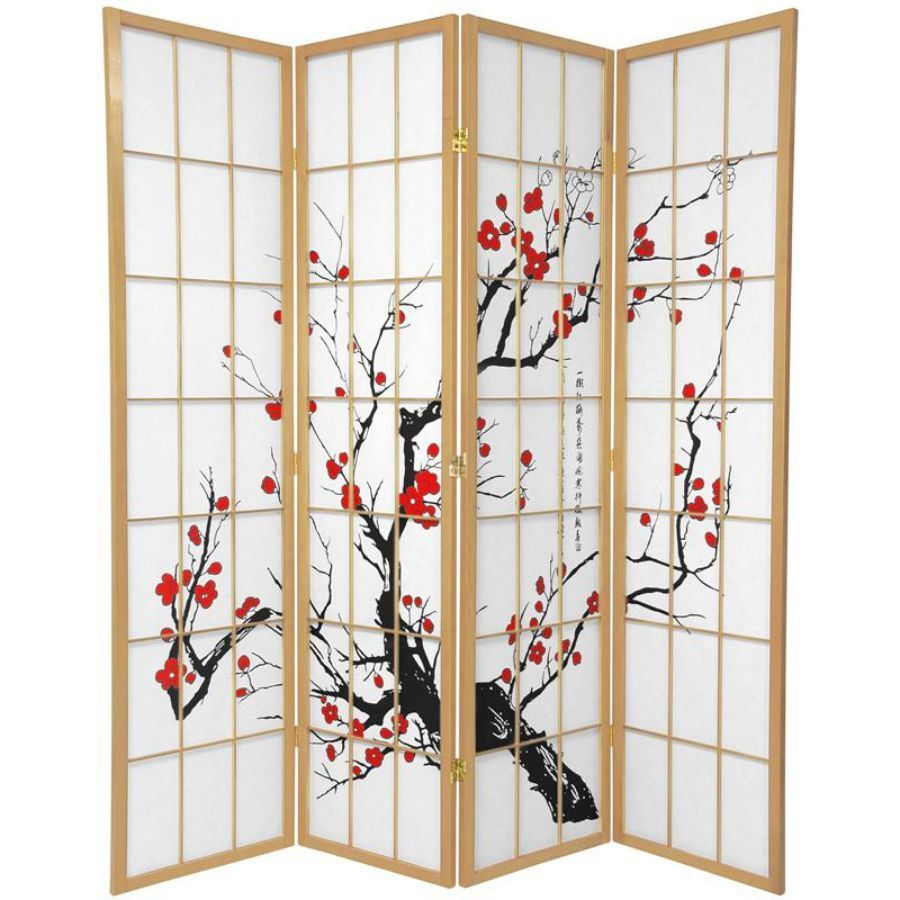 Cherry Blossom Room Divider Screen Natural 4 Panel | Room Dividers & Screens | Home Storage & Living