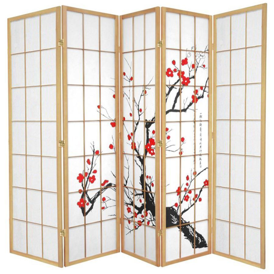 Cherry Blossom Room Divider Screen Natural 5 Panel | Room Dividers & Screens | Home Storage & Living