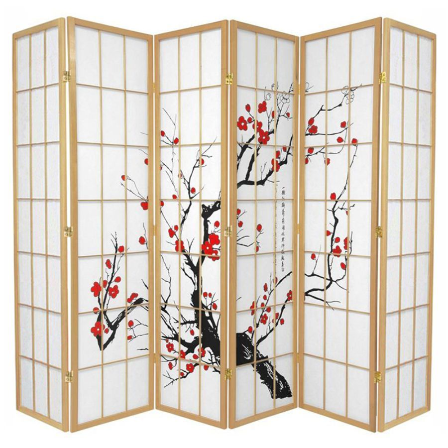 Cherry Blossom Room Divider Screen Natural 6 Panel | Room Dividers & Screens | Home Storage & Living