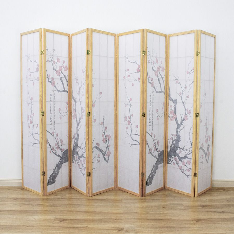 Cherry Blossom Room Divider Screen Natural 8 Panel   Room Dividers & Screens   Home Storage & Living