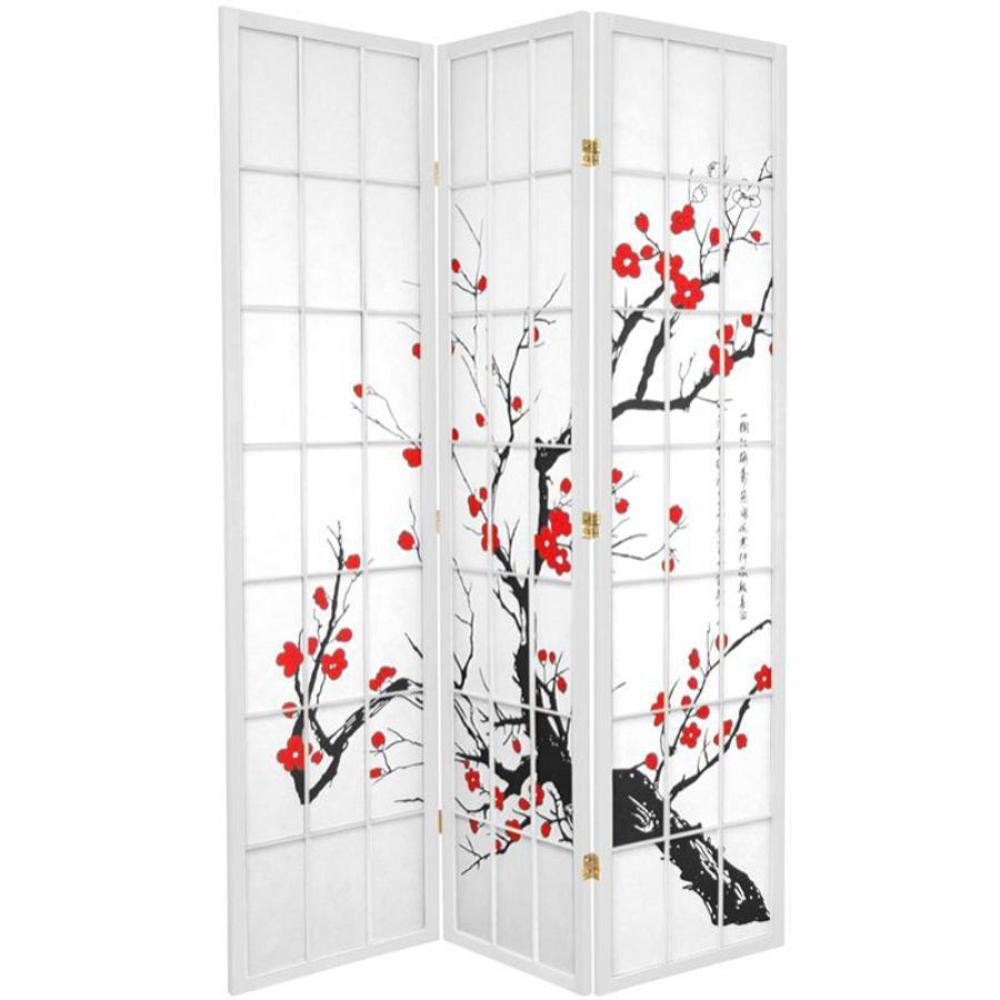 Cherry Blossom Room Divider Screen White 3 Panel | Room Dividers & Screens | Home Storage & Living