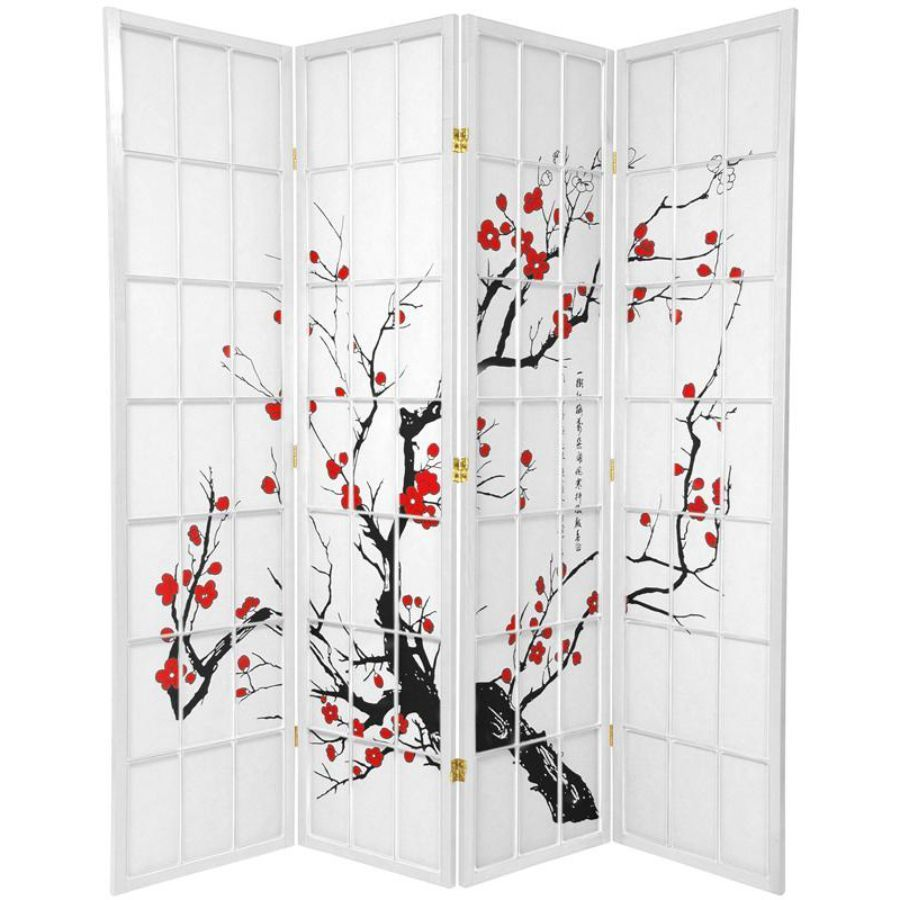 Cherry Blossom Room Divider Screen White 4 Panel | Room Dividers & Screens | Home Storage & Living