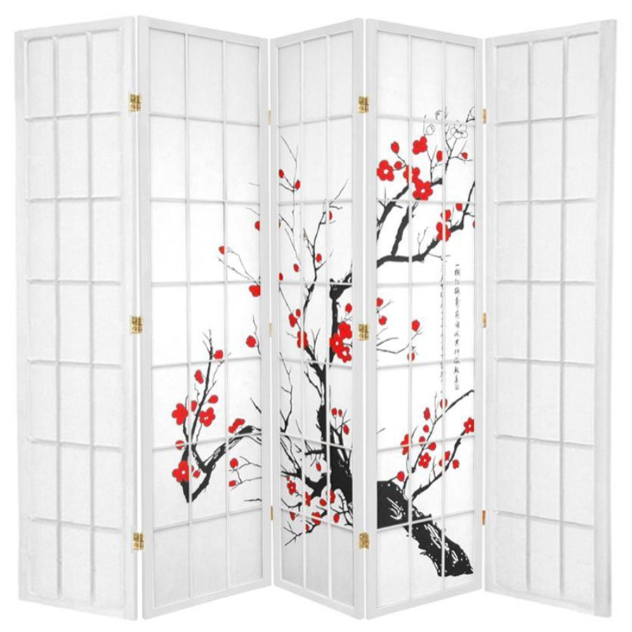 Cherry Blossom Room Divider Screen White 5 Panel | Room Dividers & Screens | Home Storage & Living