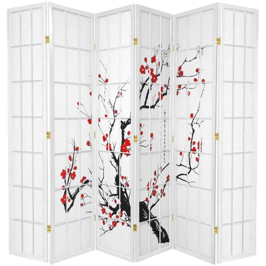 Cherry Blossom Room Divider Screen White 6 Panel | Room Dividers & Screens | Home Storage & Living