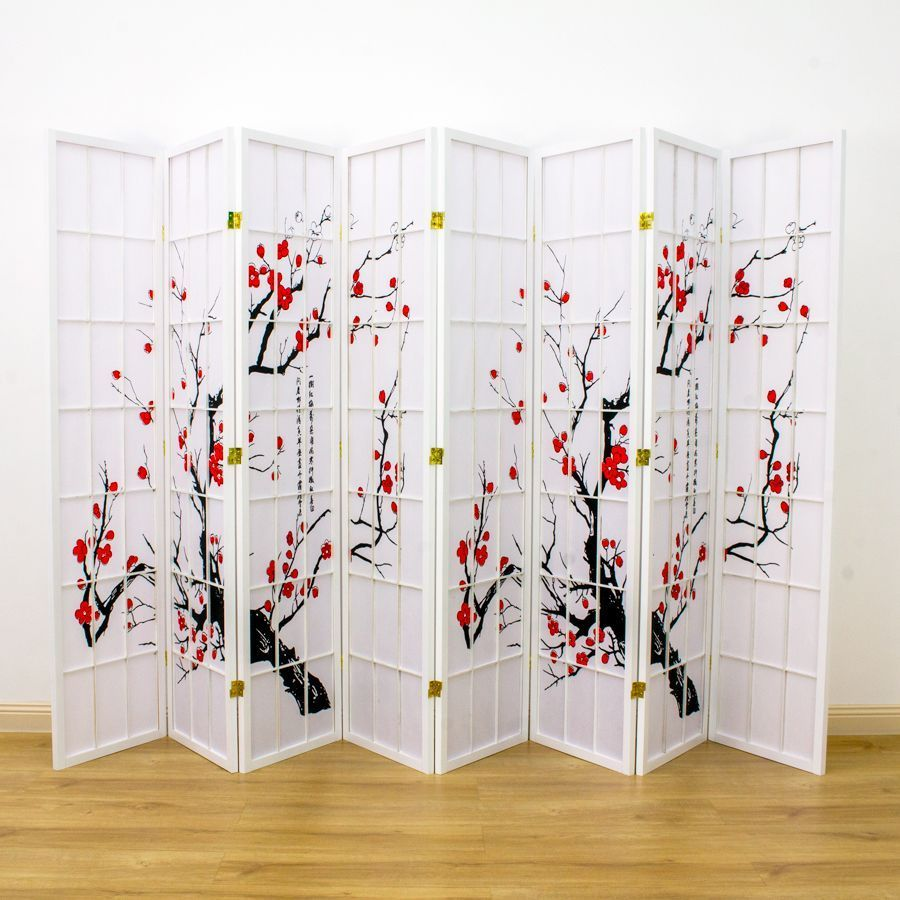 Cherry Blossom Room Divider Screen White 8 Panel | Room Dividers & Screens | Home Storage & Living