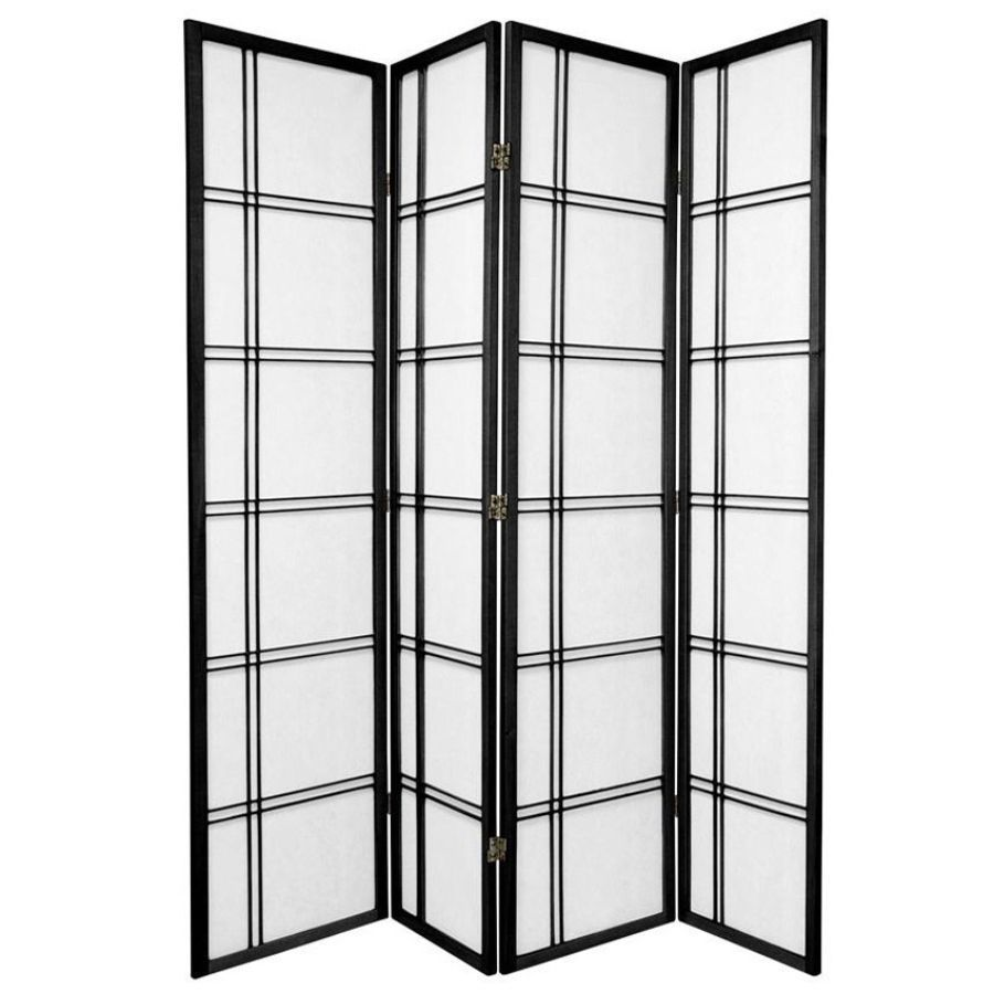 Cross Room Divider Screen Black 4 Panel | Room Dividers & Screens | Home Storage & Living