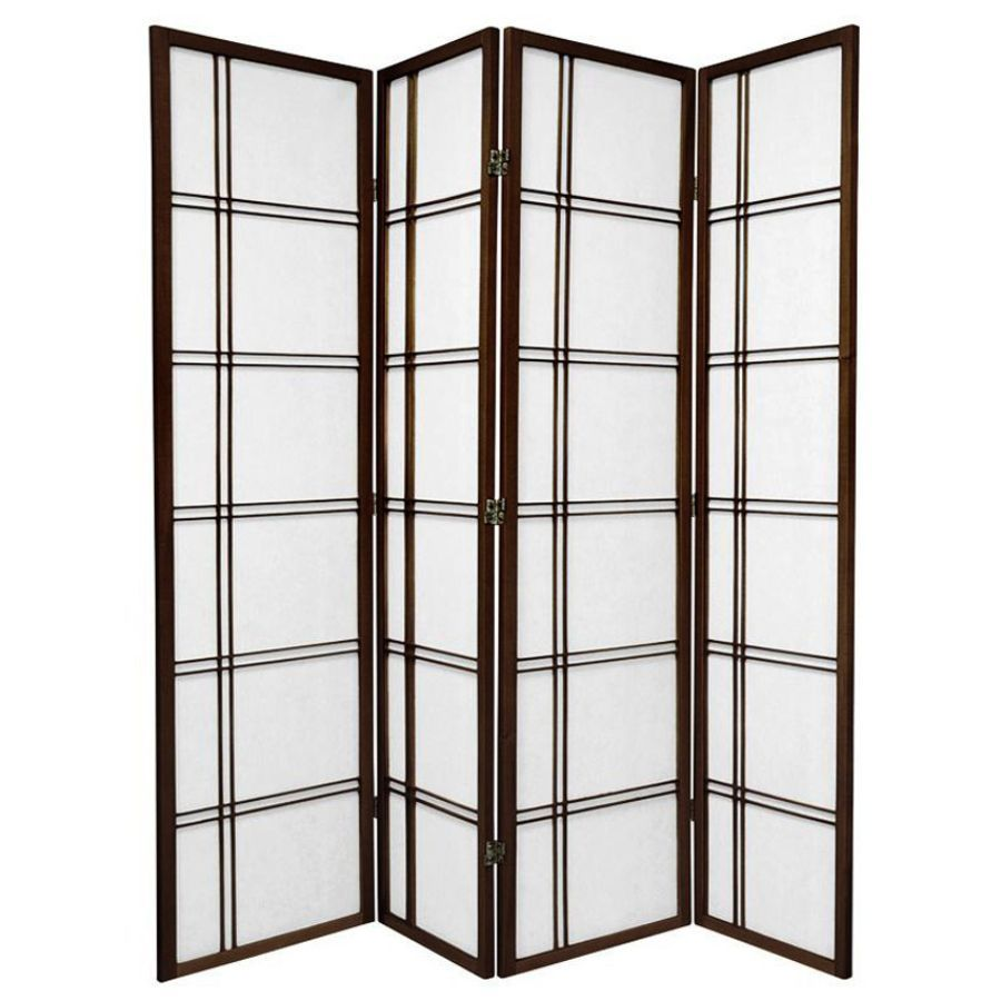 Cross Room Divider Screen Brown 4 Panel | Room Dividers & Screens | Home Storage & Living