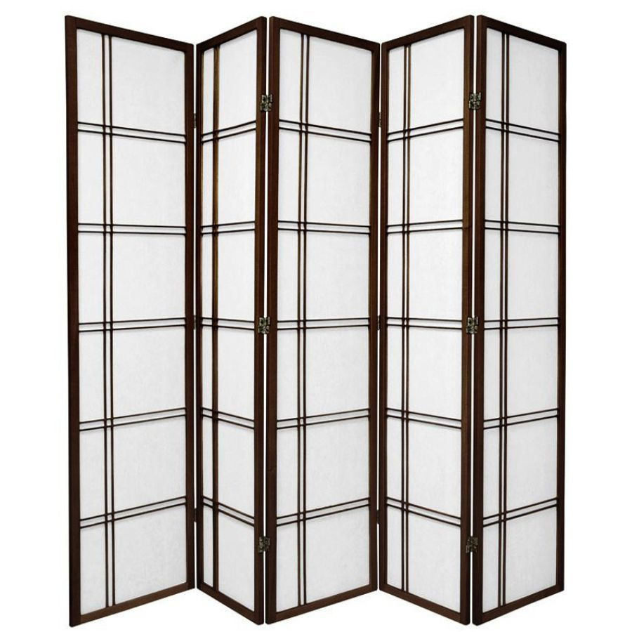 Cross Room Divider Screen Brown 5 Panel | Room Dividers & Screens | Home Storage & Living