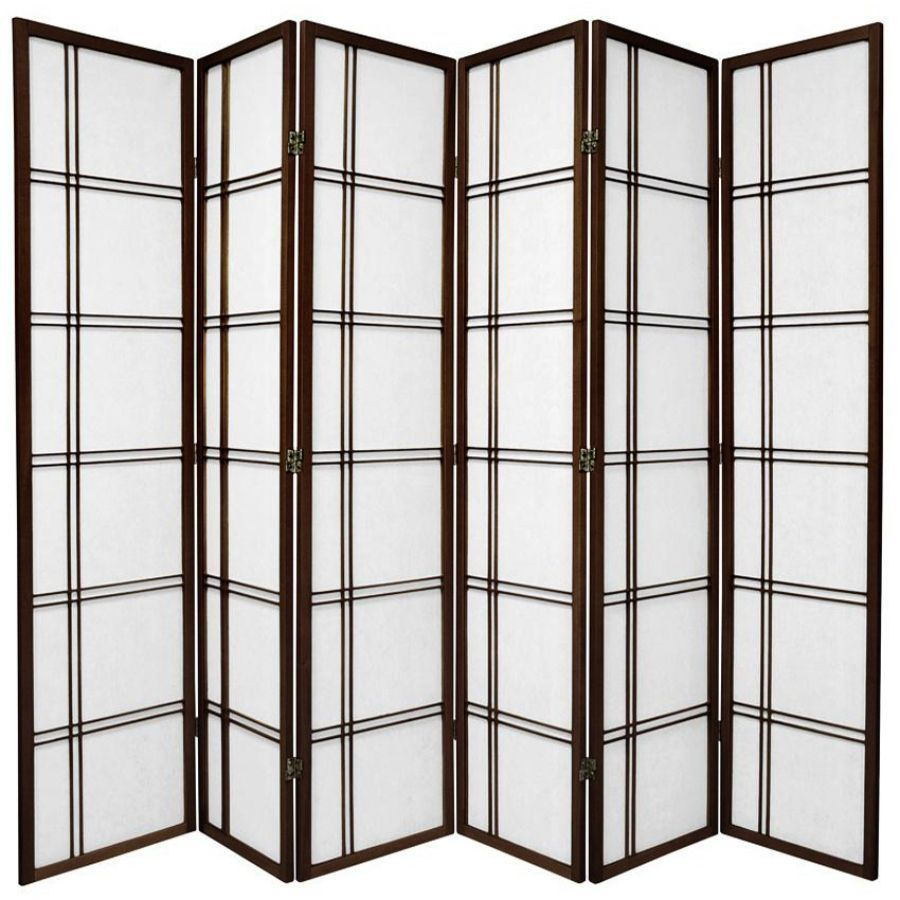 Cross Room Divider Screen Brown 6 Panel | Room Dividers & Screens | Home Storage & Living