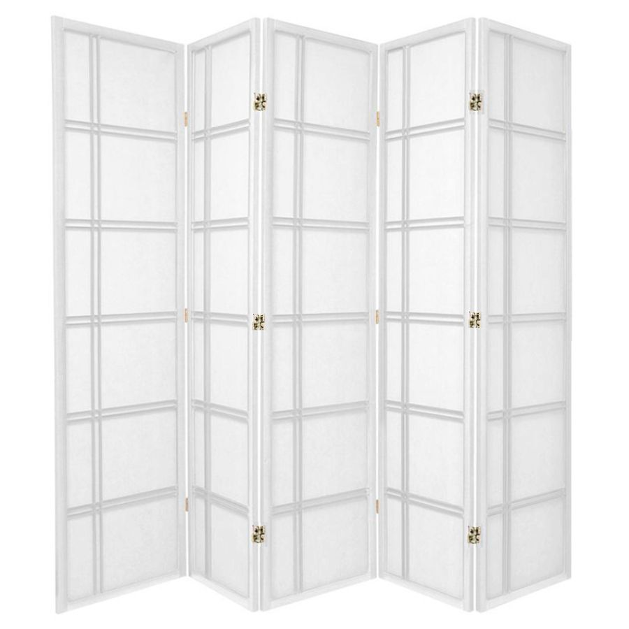 Cross Room Divider Screen White 5 Panel | Room Dividers & Screens | Home Storage & Living