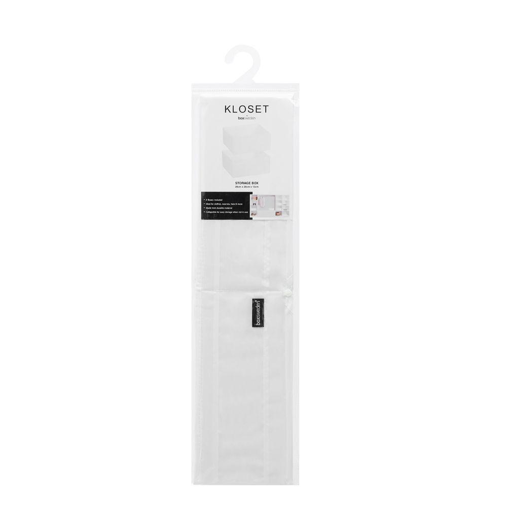 Kloset Soft Storage Square White 2 Pack 28 x 28 x 13cm | Home Storage & Living