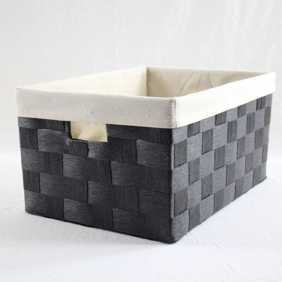 Linear Storage Basket Black XLarge | Storage Baskets & Hampers | Home Storage & Living