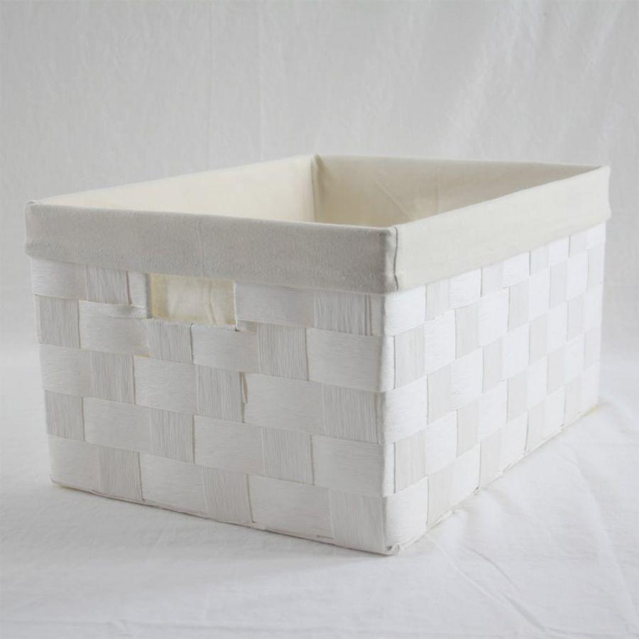 Linear Storage Basket White Medium | Storage Baskets & Hampers | Home Storage & Living