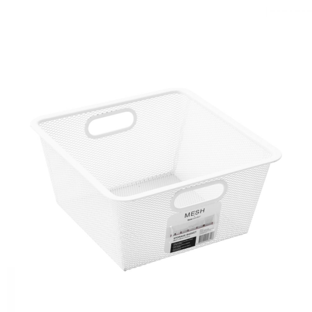 Mesh Storage Basket White 28 x 28 x 13.5cm | Storage Baskets | Home Storage & Living