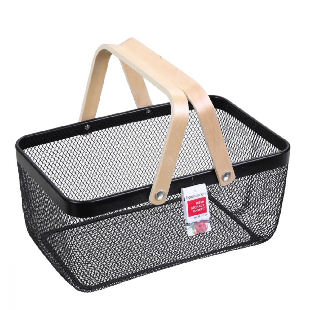 Mesh Storage Basket with Carry Handles Black | Storage Baskets | Home Storage & Living