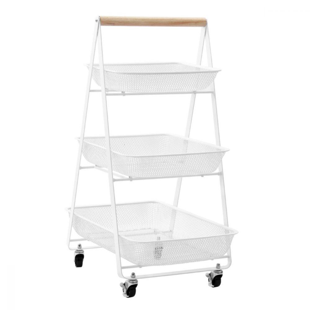 Mesh Storage Trolley with Wheels White | Storage Baskets | Home Storage & Living