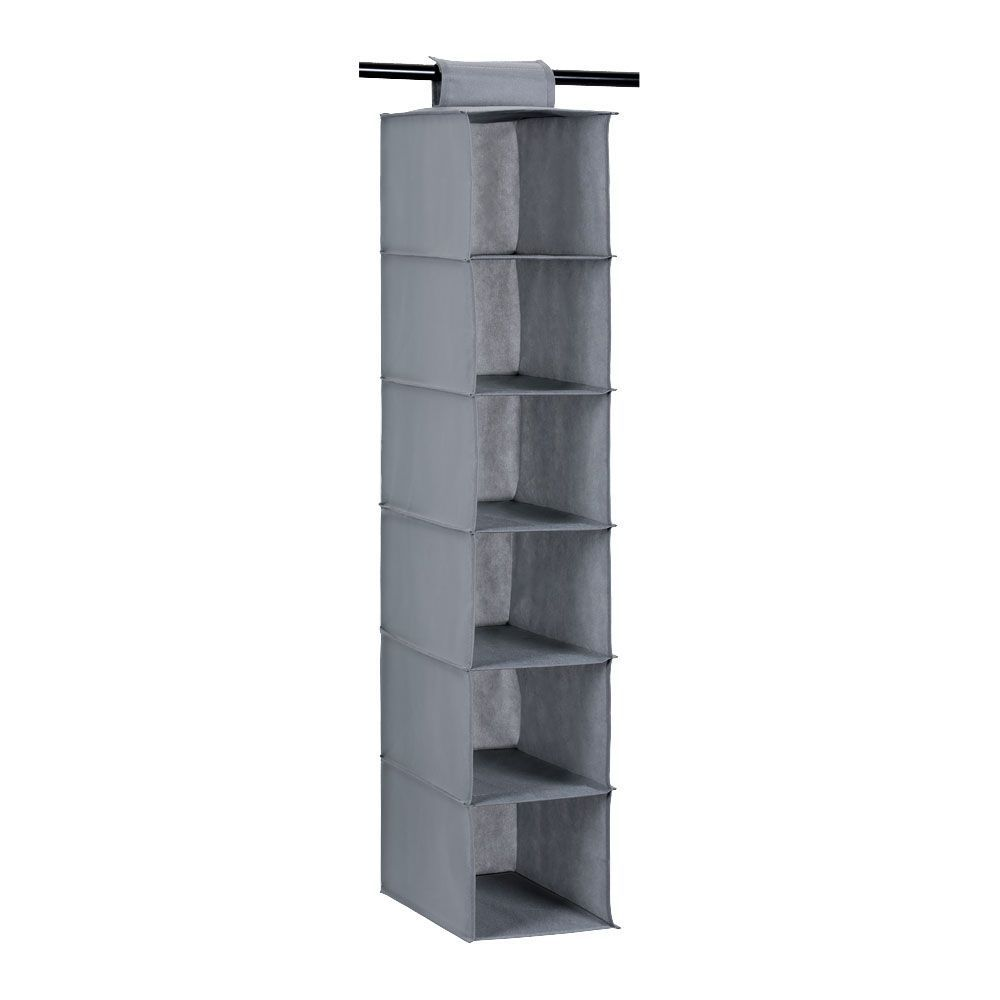 Mode Soft Storage 6 Section Hanging Organiser Grey 20 x 30 x 80cm | Home Storage & Living