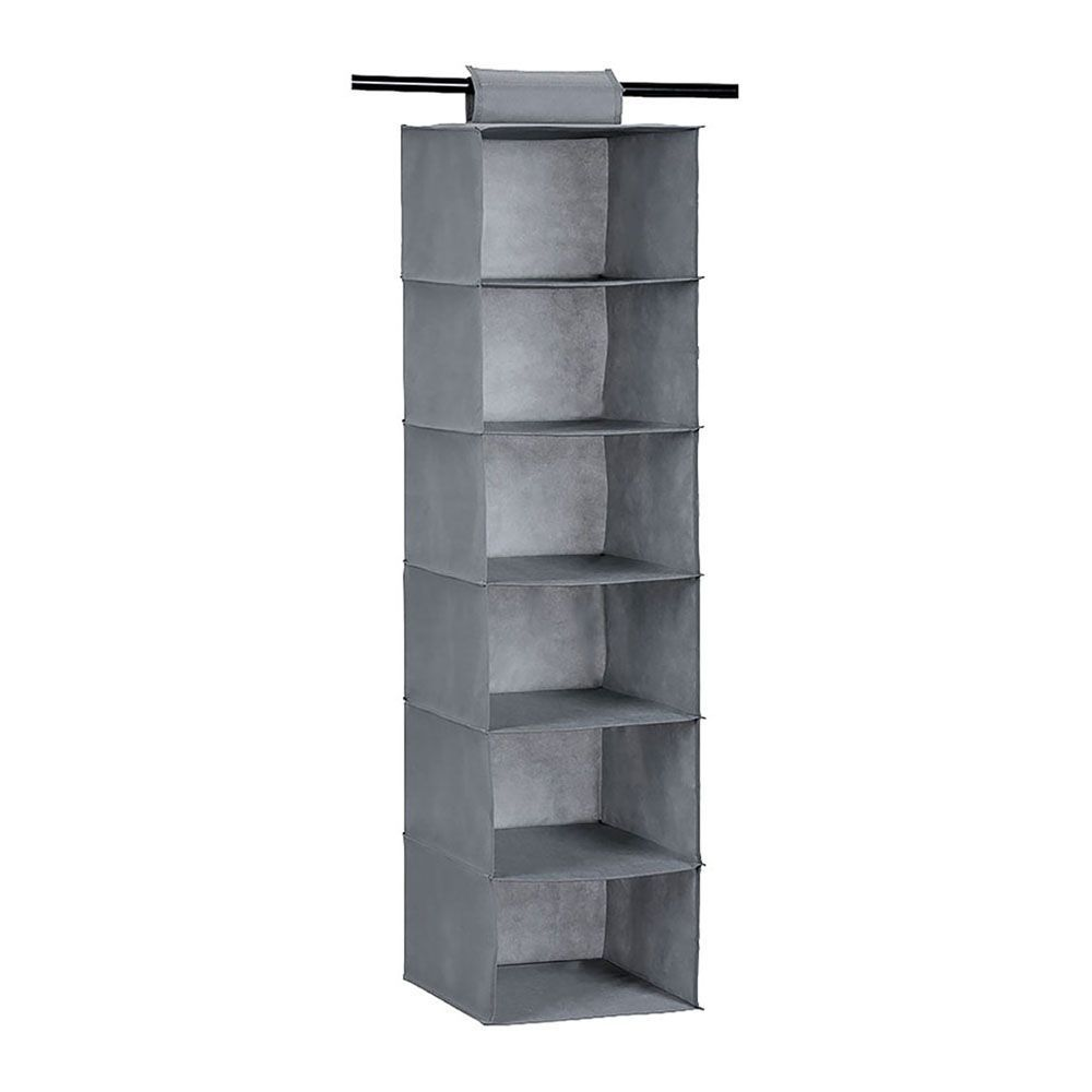 Mode Soft Storage 6 Section Hanging Organiser Grey 30 x 30 x 115cm | Home Storage & Living