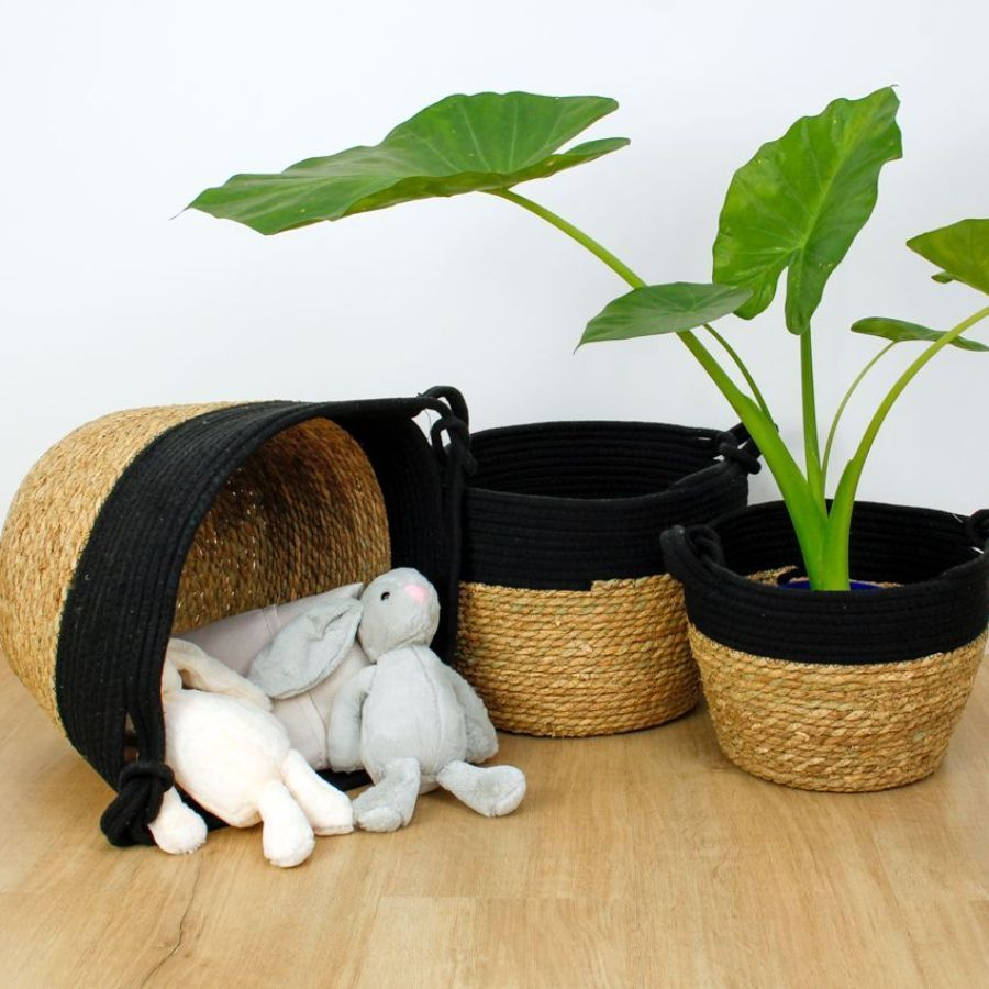 Seagrass Rope Storage Basket Black Medium | Home Storage & Living