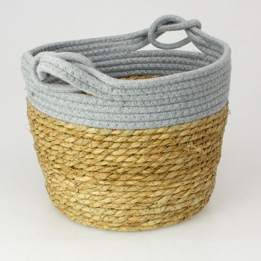 Seagrass Rope Storage Basket Grey Large | Home Storage & Living