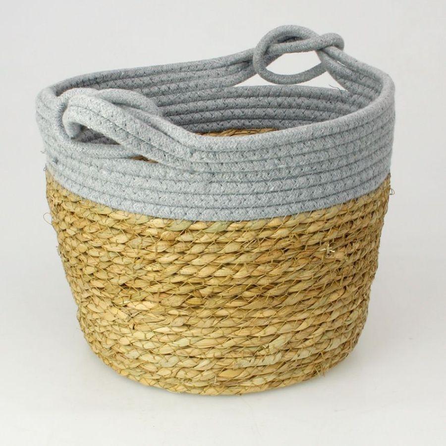 Seagrass Rope Storage Basket Grey Medium | Home Storage & Living