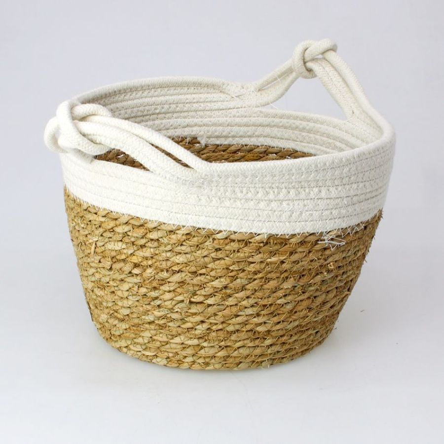 Seagrass Rope Storage Basket White Small | Home Storage & Living