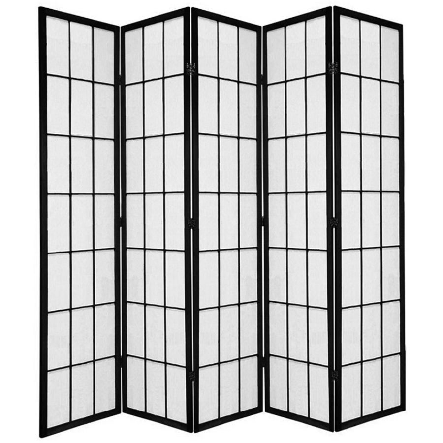 Shoji Room Divider Screen Black 5 Panel | Room Dividers & Screens | Home Storage & Living