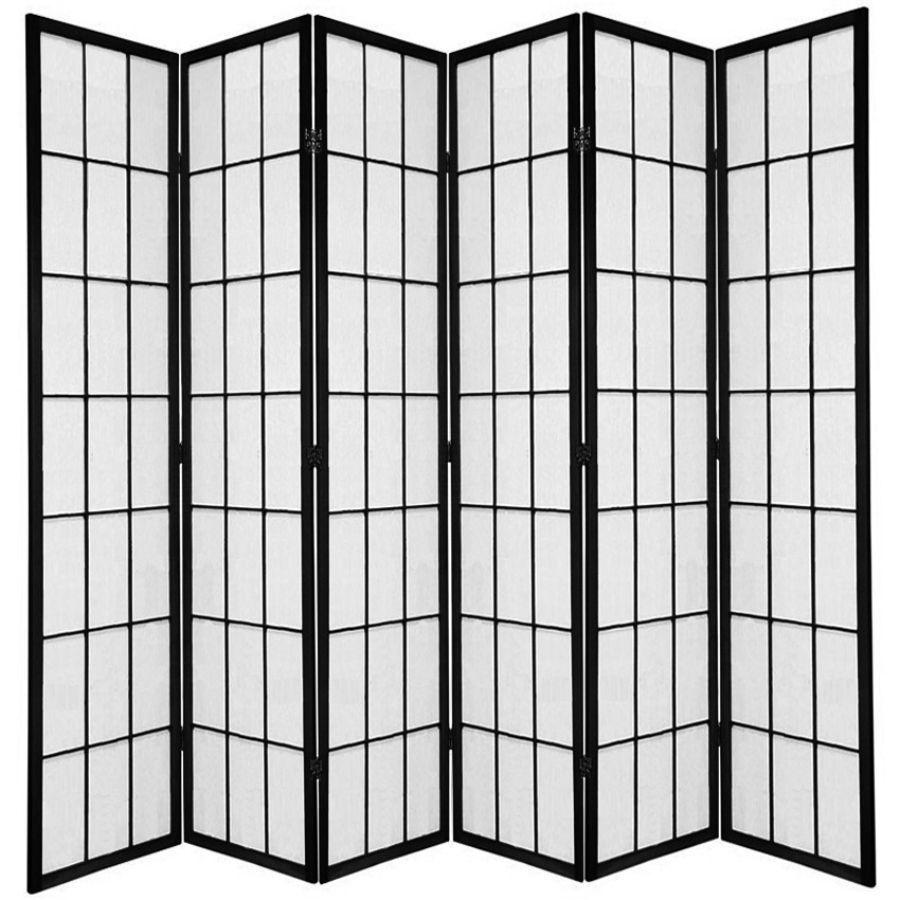 Shoji Room Divider Screen Black 6 Panel | Room Dividers & Screens | Home Storage & Living