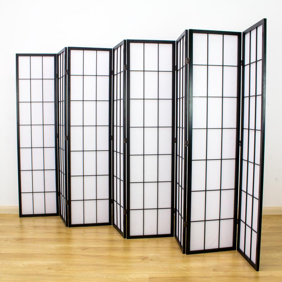 Shoji Room Divider Screen Black 8 Panel | Room Dividers & Screens | Home Storage & Living