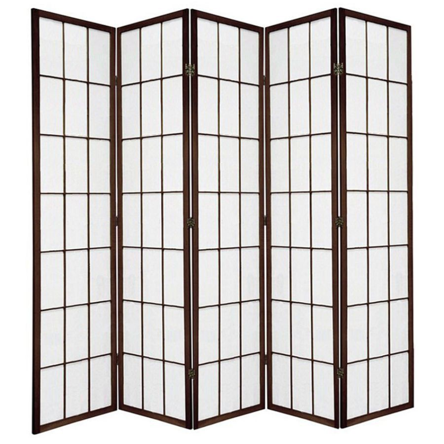 Shoji Room Divider Screen Brown 5 Panel | Room Dividers & Screens | Home Storage & Living