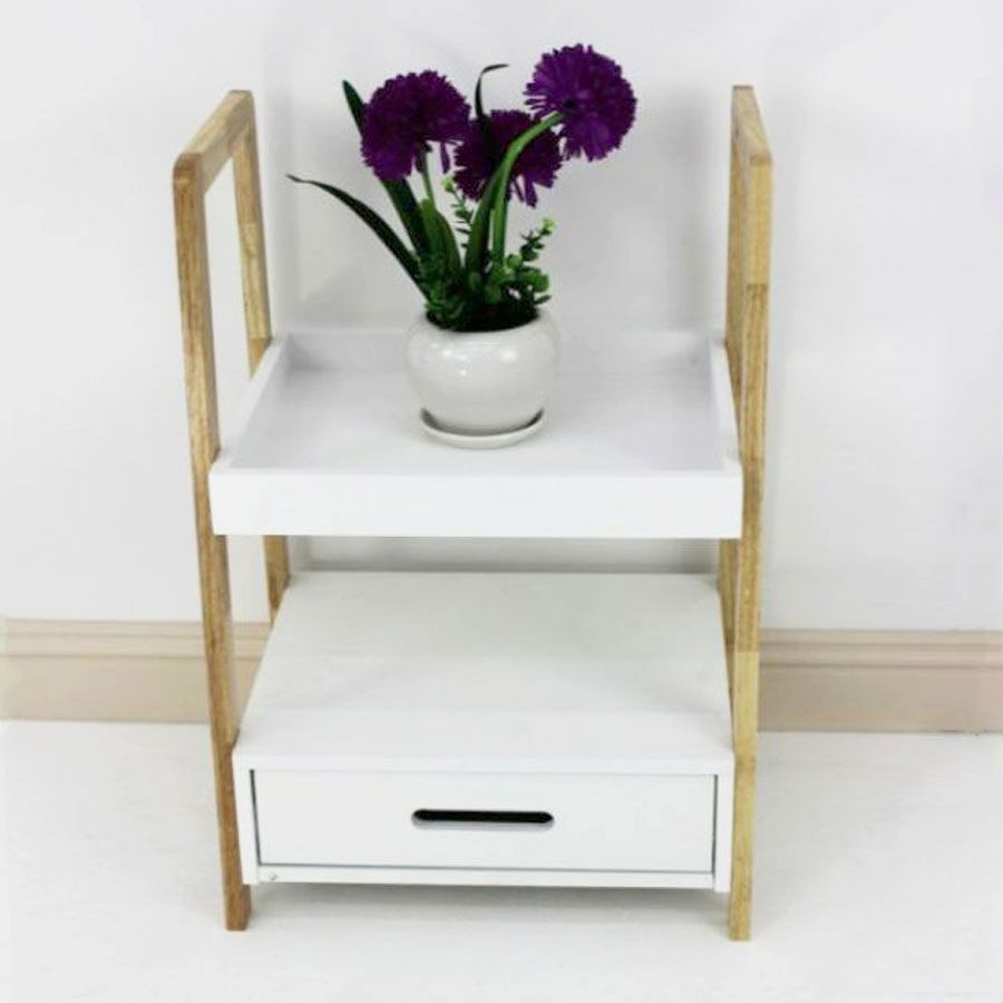 Wooden Shelving Unit with Drawers 2 Tier | Furniture | Home Storage & Living