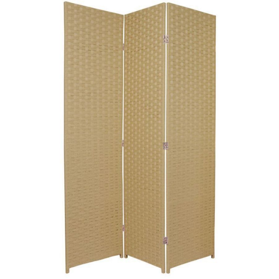 Woven Room Divider Screen Beige 3 Panel | Room Dividers & Screens | Home Storage & Living