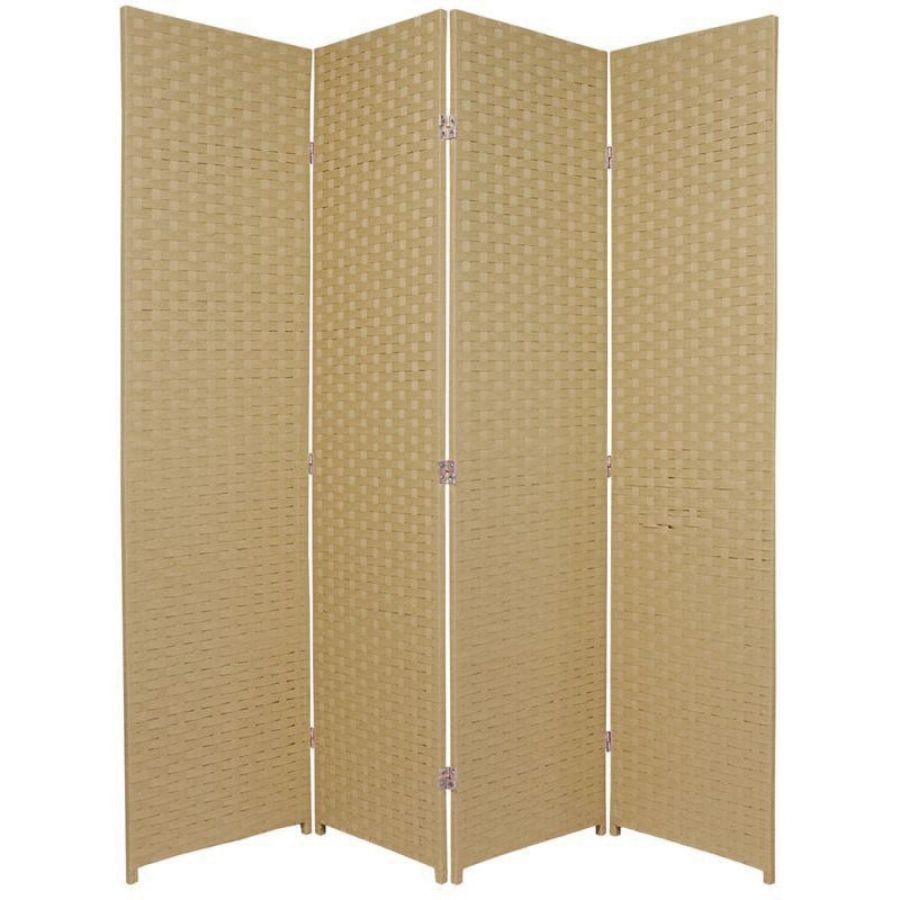 Woven Room Divider Screen Beige 4 Panel | Room Dividers & Screens | Home Storage & Living